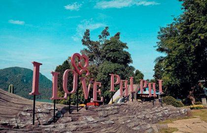 I love PHI PHI Schild auf den traumhaften Inseln in Südasien