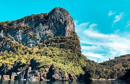 Die berühmten bewachsenen Kalkstein Felsen von Thailand von der modernen Segelyacht aus bestaunen
